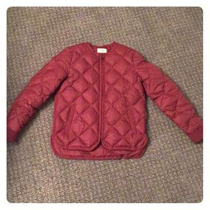 Marine layer Meredith Puffer Coat burgundy size XS